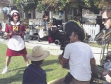 <h5>SCRUBBING BUBBLES</h5><p>On set with flying gear and cool sunglasses.</p>